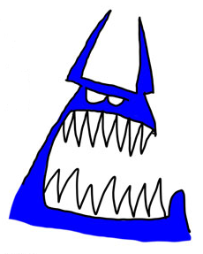 Angry cartoon head with sharp teeth in need of psychiatric counseling