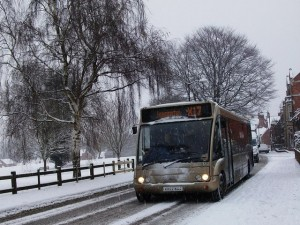 Bus driving along snowy road (Geograph)