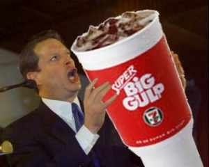 Al Gore drinking a 7-11 Super Big Gulp