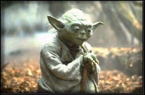 Yoda leaning on his staff