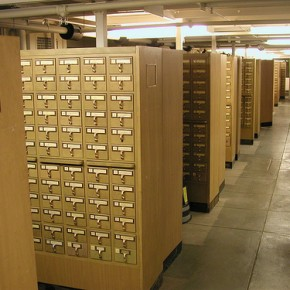 after creating content, people's works often appeared in a library card catalog
