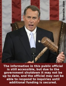 John Boehner with gavel | closed for government shutdown
