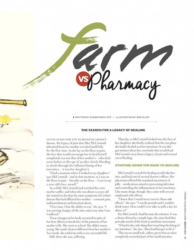 Farm vs Pharmacy - The Health Journal - March 1, 2014 - by Shawn Radcliffe