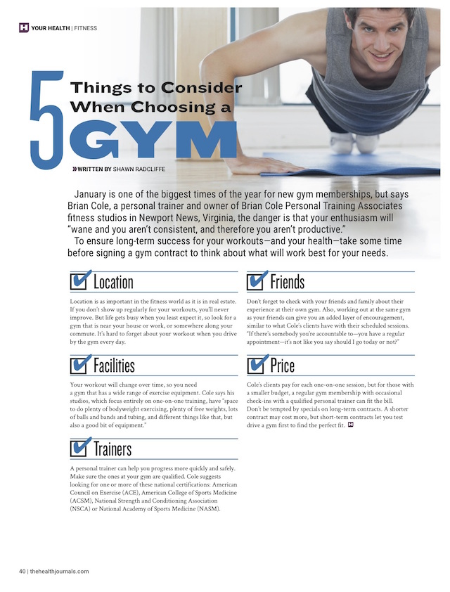 5 Things to Consider When Choosing a Gym - Health Journal - December 29, 2014 - Shawn Radcliffe
