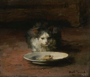 painting - joseph bail - cat - food plate