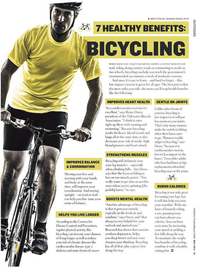 7 Healthy Benefits of Bicycling - The Health Journal May 1, 2014 (by Shawn Radcliffe)