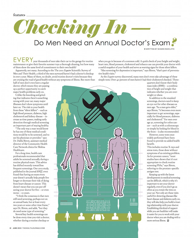 Checking In - Do Men Need an Annual Doctor's Exam (by Shawn Radcliffe)_Health Journal June 2013