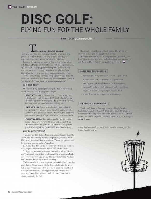 Disc Golf - Flying Fun for the Whole Family - The Health Journal - March 1, 2015 - Shawn Radcliffe
