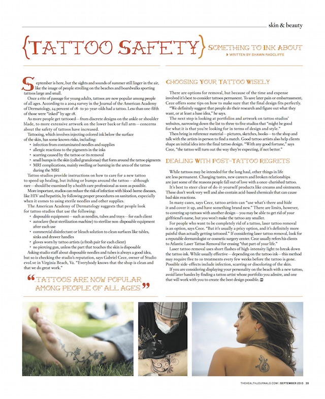 Tattoo Safety - Something to Ink About - The Health Journal September 1, 2013 - by Shawn Radcliffe