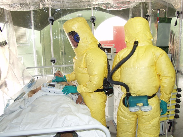 Healthcare workers following Ebola crisis isolation procedure
