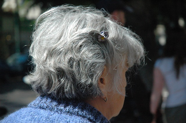 The back of an elderly woman's head