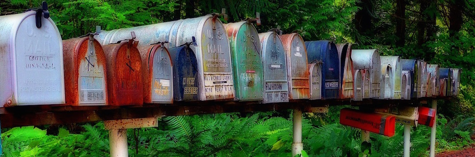 Contact | Row of rural mailboxes