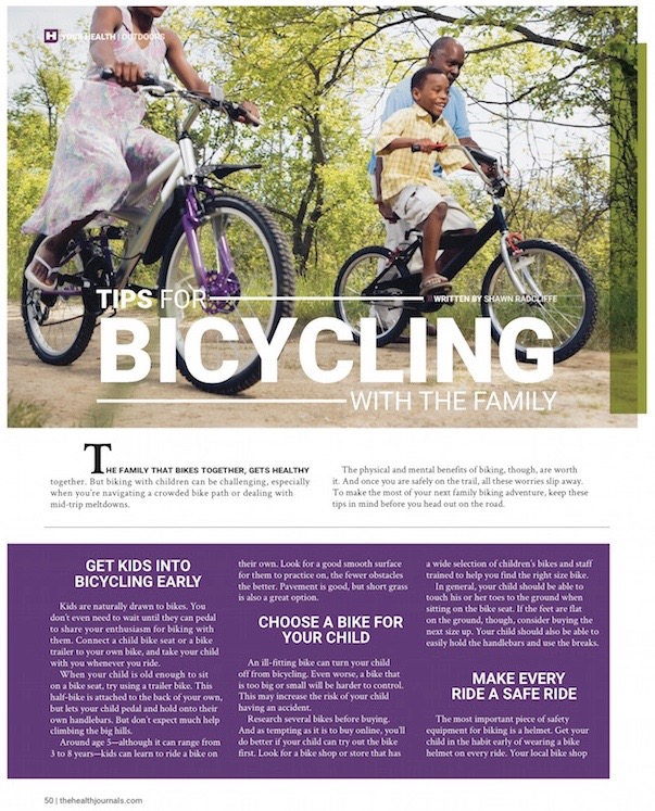 Tips for Bicycling With Family, Health Journal, May 2015 (by Shawn Radcliffe) - page 1