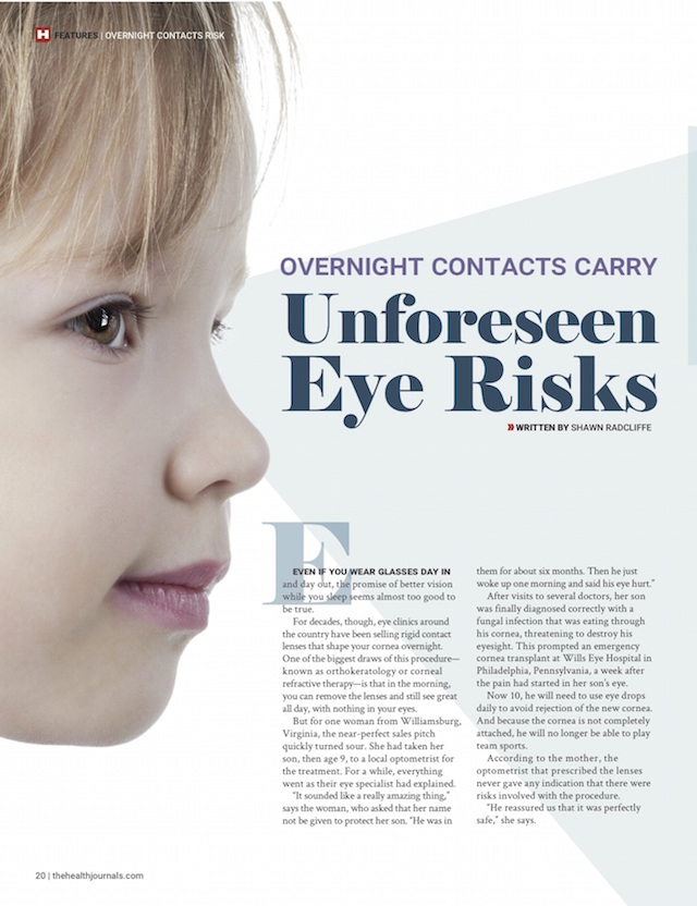 The Health Journal, Overnight Contact Lenses, Shawn Radcliffe, print