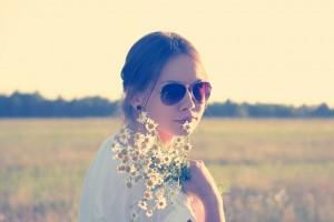 hippie, woman, flowers
