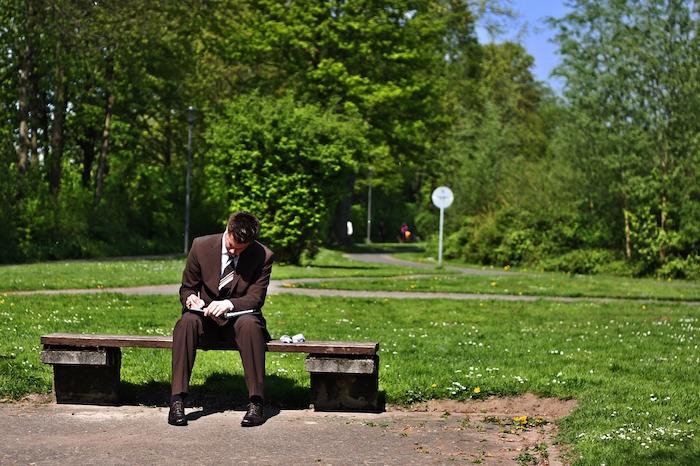 businessman, work, park, bench, health