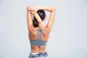woman, workout, exercise, stretching, shoulder