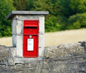 red mailbox, country road, query