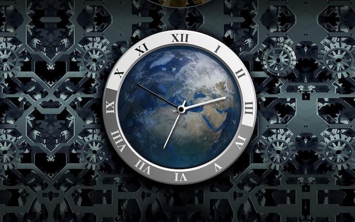 Past, Present, Future - Clock and World