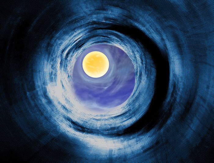 Viewing Another Sun Through a Wormhole - Illustration